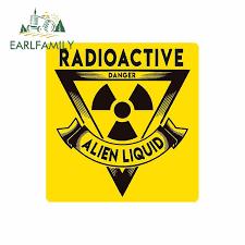 Earlfamily 13cm X 12 5cm Car Styling Radioactive Danger Car Bumper Sticker Window Decal Vinyl Alien Liquid Car Stickers Car Stickers Aliexpress