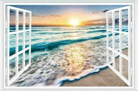 3d Fake Window Sunrise Ocean Beach Wall Sticker Vinyl Mural Decal Wallpaper For Sale Online