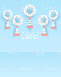 Thailand Mothers Day Background Design With Garland Origami For Mothers Day  Thai Traditional Paper Art Style Vector ...