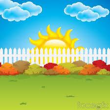Cartoon Garden Fence Background Vector Cartoon Garden Vector Background Flower Background Design