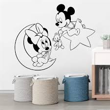 Disney Mickey Minnie Mouse Moon Star Wall Stickers Home Decor Living Room Cartoon Wall Decals Vinyl Mural Art Diy Posters Wall Stickers Aliexpress