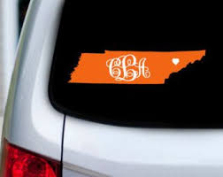 Monogram Initials Over Tennessee With Heart Over City Vinyl Car Decal Ut Knoxville University Of Tenn Car Decals Vinyl Car Decals Personalized Vinyl Decal