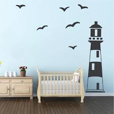 Lighthouse Wall Decal Nautical Boys Room Wall Decor Sailing Wall Stickers Removable Boys Room Lighthouse Decals Trendy Wall Designs