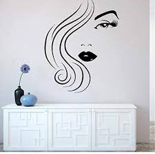 Wall Stickers And Murals Beauty Salon Woman Face Wall Sticker Home Decoration Bedroom Vinyl Decal Mural For Girls Fashion Wall Tattoo Poster 57 73cm Wish
