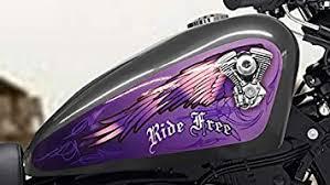 Amazon Com East Coast Vinyl Werkz V Twin Wings Ride Free Purple 3pc Set Fuel Tank Decal For Harley Davidson Sportster 883 1200 Iron 48 Automotive