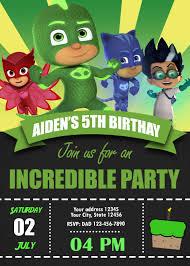 Pj Masks Birthday Party Invitation Birthday Party Invite
