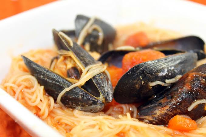 Image result for angel Hair Pasta with Mussels and Red Pepper Sauce""