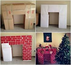 fake fireplace out of cardboard boxes