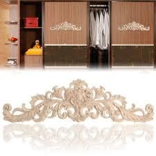 1pcs Rectangle Carving Natural Wood Appliques For Furniture Cabinet Unpainted Wooden Moulding Decal Walmart Com Walmart Com