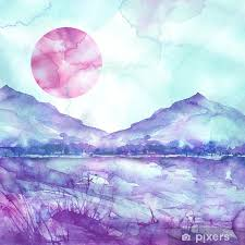Watercolor Mountain Landscape Blue Purple Mountains Peak Forest Silhouette Reflection In The River Red Sunset Sun Wild Grass Highlands Branches Flowers Watercolor Landscape Painting Wall Mural Pixers We Live To Change