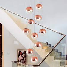 glass ball pendant lights staircase