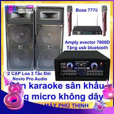 Dàn karaoke sân khấu karaoke gia đình 2 cặp Loa 3 tấc đôi nỉ novio ...