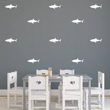 Amazon Com Set Of 21 Vinyl Wall Art Decals Shark Patterns 3 X 7 Each Cool Adhesive Sticker Shapes For Boys Toddlers Teens Bedroom Playroom Living Room Decor White Kitchen Dining