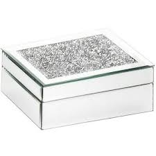 mirrored glass jewellery box with