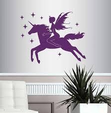 Amazon Com Wall Vinyl Decal Home Decor Art Sticker Beautiful Fairy Riding Magical Unicorn Fantasy Bedroom Living Room Removable Stylish Mural Unique Design Home Kitchen