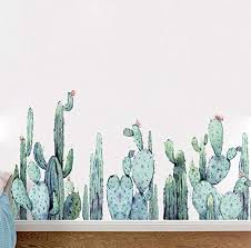 Amazon Com Bibitime Cactus Wall Decal Green Plants Flower Vinyl Sticker Peel And Stick Home Art Pvc Murals For Living Room Nursery Bedroom Children Kids Room Decor Home Kitchen