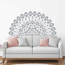Half Mandala Yoga Bedroom Decor Headboard Wall Decals Removeable Vinyl For Home Living Room Decor Accessories Sticker Z820 Wall Stickers Aliexpress