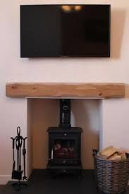 wood burning stove with oak below a