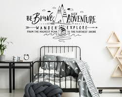 Be Brave Seek Adventure Wander And Explore Wall Decal Mountains Decal Adventure Decal Adventure Nursery Wanderlust Adventure Kids Room
