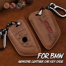 bmw car key holder fob genuine leather