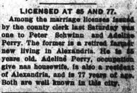 Peter Schwinn marriage license at 85 years old, Adeline Perry, 77 years  old, to be spouse. - Newspapers.com