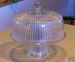 old heavy glass cake plate stand w