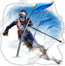 Skiing Downhill Ski Skier Extreme Sport Flag Car Bumper Vinyl Sticker Decal 4 6 For Sale Online Ebay
