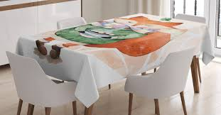 Animal Tablecloth Cute Little Fox And Bird On His Head Tea Time Kids Nursery Friends Baby Theme Rectangular Table Cover For Dining Room Kitchen 60 X 84 Inches Green Orange By Ambesonne