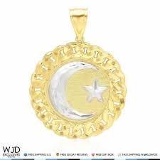 crescent circle pendant 14k solid