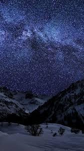 sky snow stars night sea mounn
