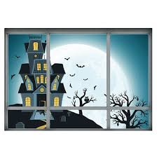 Shop 3d Fake Window Wall Sticker Halloween Night Haunted House Home Wall Decor Online From Best Wall Stickers Murals On Jd Com Global Site Joybuy Com