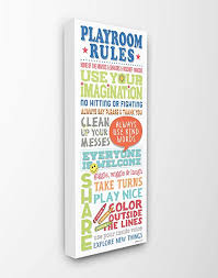 Amazon Com The Kids Room By Stupell Playroom Rules Colorful Typography White Blue Green And Red Stretched Canvas Wall Art 10x24 Gray Framed Giclee Home Kitchen