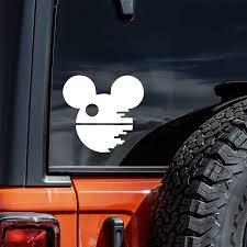 Amazon Com Vool Death Star Mickey Decal Vinyl Sticker Cars Trucks Vans Walls Laptop White 5 5 Automotive