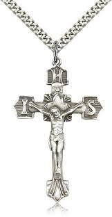 mens sterling silver crucifix necklace