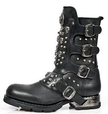 black leather biker boots with buckles