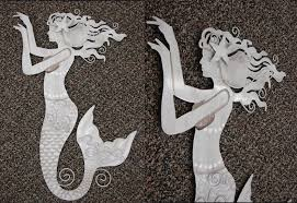 tin mermaid wall sculpture beach