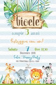 Digital Invitation Jungle Safari Animals Birthday Party