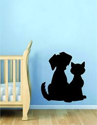 Amazon Com Dog And Cat Silhouette Wall Decal Sticker Room Art Vinyl Beautiful Animal Shelter Pet Rescue Vet Paw Print Love Puppy Kitty Kitten Home Kitchen