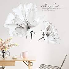 Amazon Com Derun Trading Floral Wall Stickers Flower Wall Decal Decor White Wall Decals Wall Treatments Wall Murals Wall Paintings For Living Room Arts Crafts Sewing