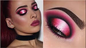 pink black and white eye makeup
