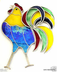 stained glass rooster window hanging