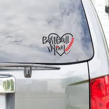 Baseball Mom Vinyl Car Decal Sports Decals Heart Shaped With Stitches Baseball Mom Vinyl Decal L Car Window Decal Vinyl Car Decal Wall Decal Laptop Deca Peel And Stick Vinyl Decals