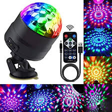 Disco Ball Party Lights Portable Rotating Lights Sound Activated Led Strobe Light 7 Color With Remote