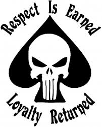 Respect Is Earned Loyalty Returned Punisher Skull Spade Car Or Truck Window Decal Sticker Or Wall Art Decalsrock