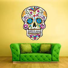 Full Color Wall Decal Sticker Cute Sugar Skull Curly Modern Fashion Col299 Ebay