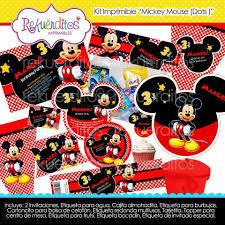 Kit Imprimible Mickey Mouse Dots Cumpleanos Invitaciones 3 7 499 En Mercado Libre