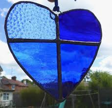 blue stained glass royal blue valentine