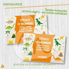 Tarjeta Invitacion Dinosaurios Imprimible Textos Editables 150