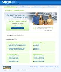 project detail view texas auto insurance landing page design for