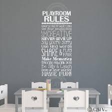 Playroom Rules Vinyl Lettering Wall Decal Sticker 16 W X 35 H White Walmart Com Walmart Com